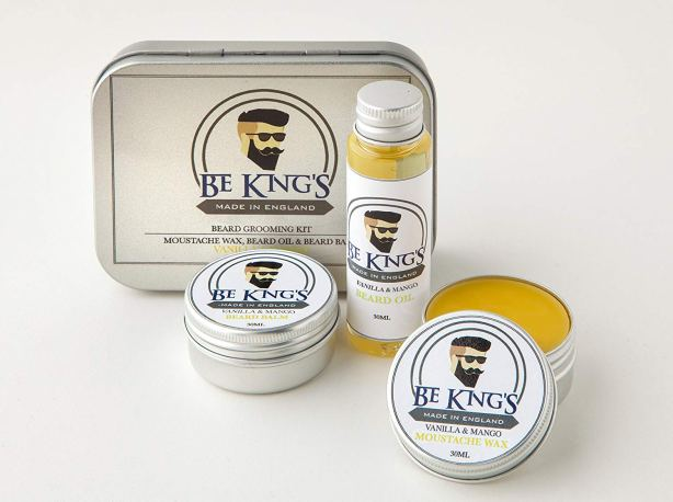 Be King's - balsamo barba da 30 ml, cera baffi da 30 ml e 30 ml di olio da barba