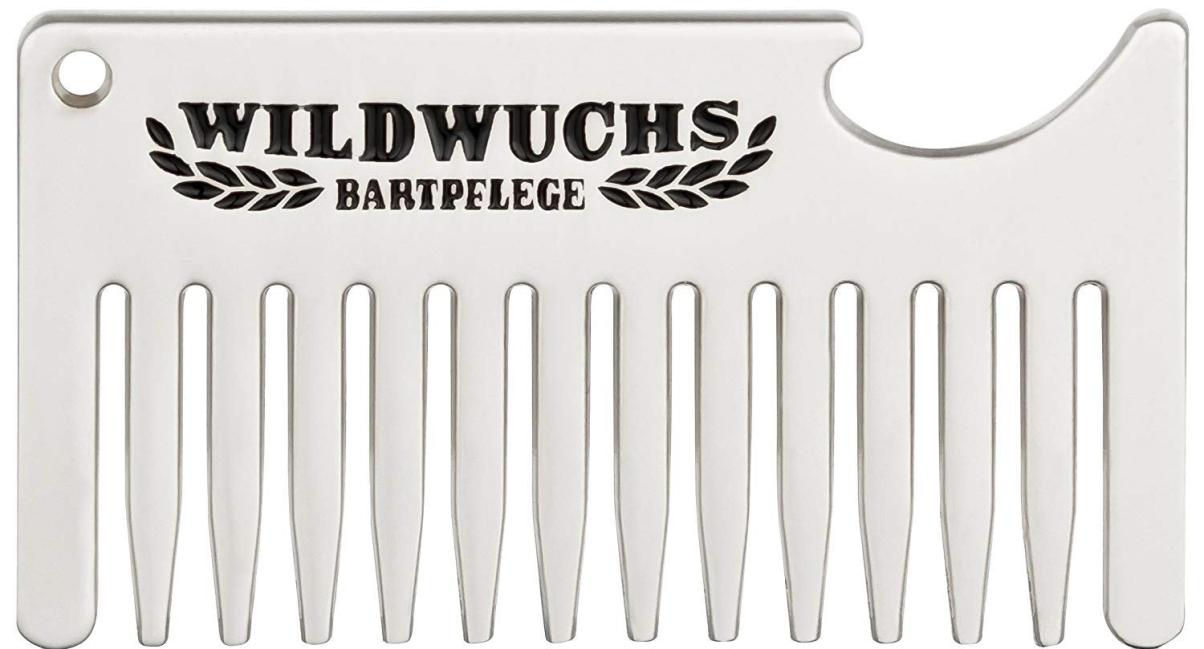Wildwuchs Bartpflege - Portachiavi con pettine per barba e apribottiglie